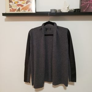 The Kooples Genuine Lambskin Merino Wool Cardigan